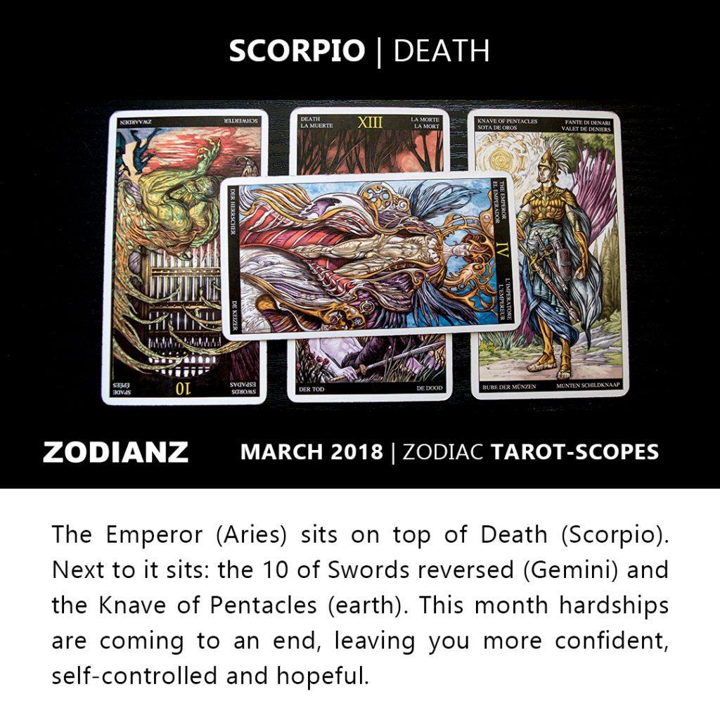 Scorpio March 2018 Zodiac Tarot-Scope by Joan Zodianz