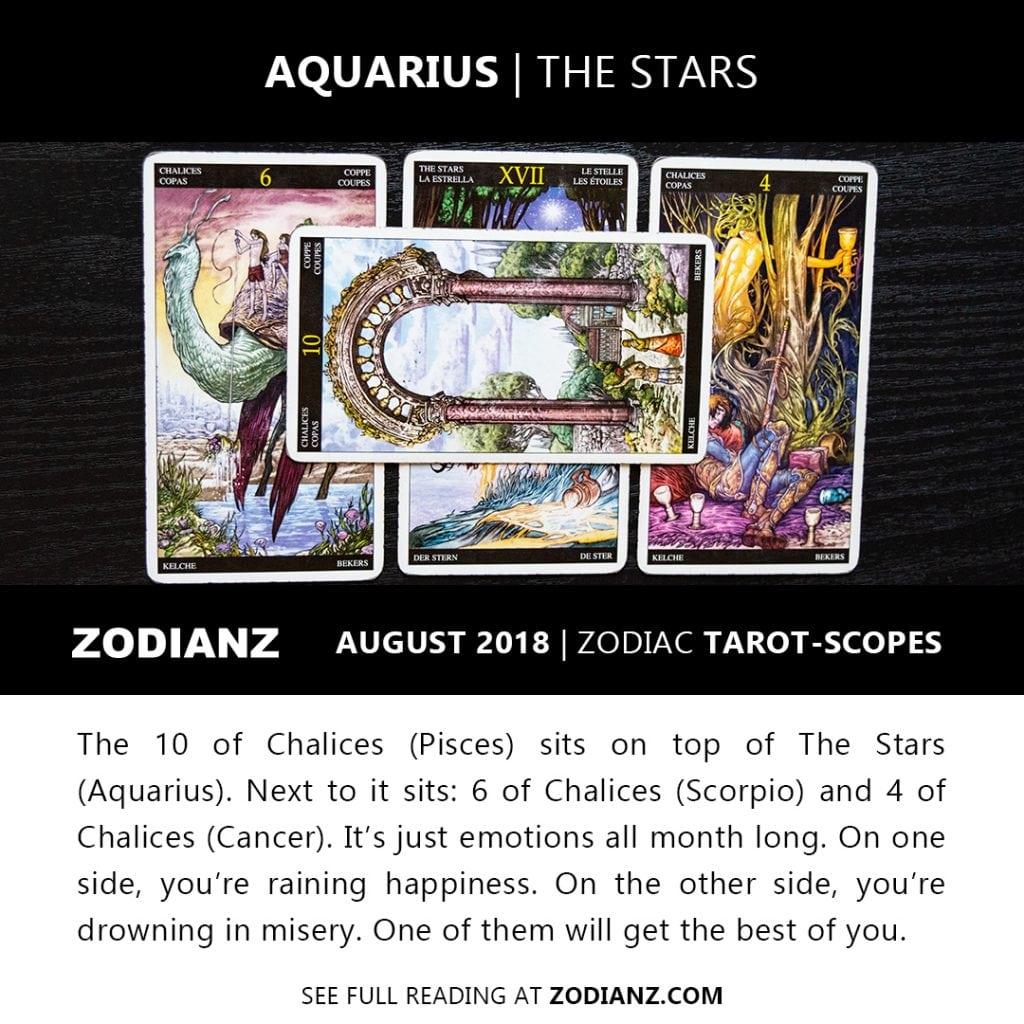 AQUARIUS AUGUST 2018 ZODIAC TAROT-SCOPES BY JOAN ZODIANZ