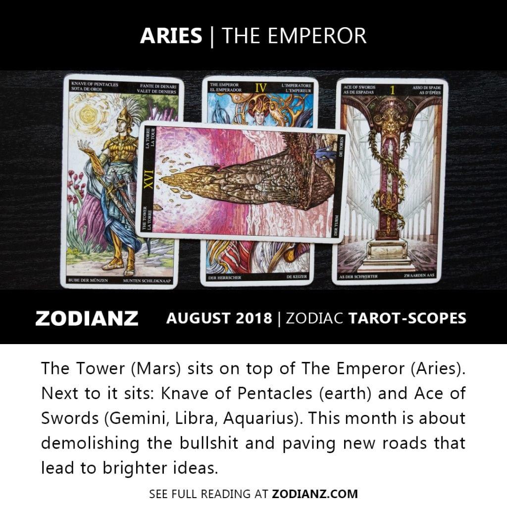 ARIES AUGUST 2018 ZODIAC TAROT-SCOPES BY JOAN ZODIANZ