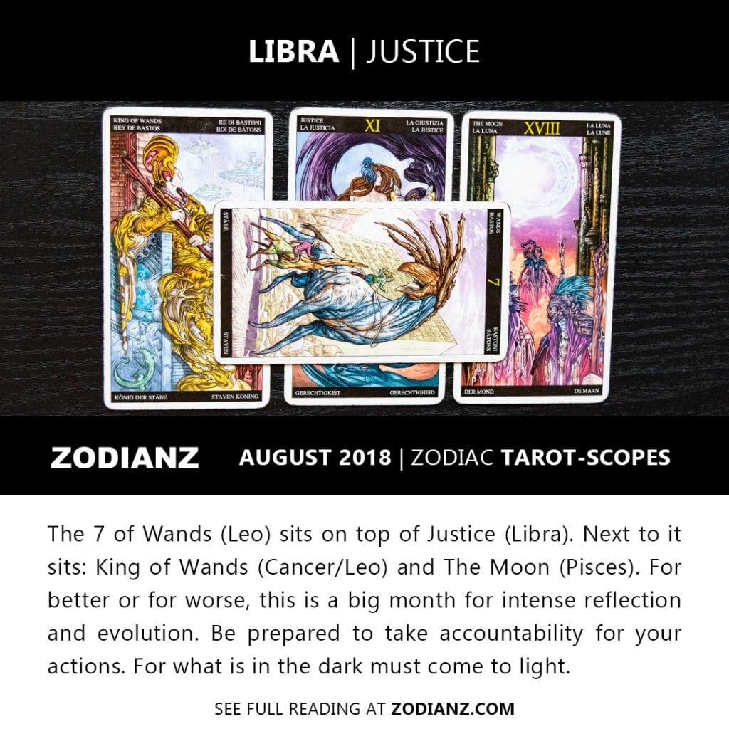 LIBRA AUGUST 2018 ZODIAC TAROT-SCOPES BY JOAN ZODIANZ
