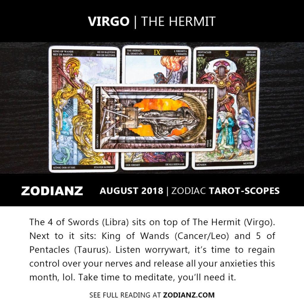 VIRGO AUGUST 2018 ZODIAC TAROT-SCOPES BY JOAN ZODIANZ