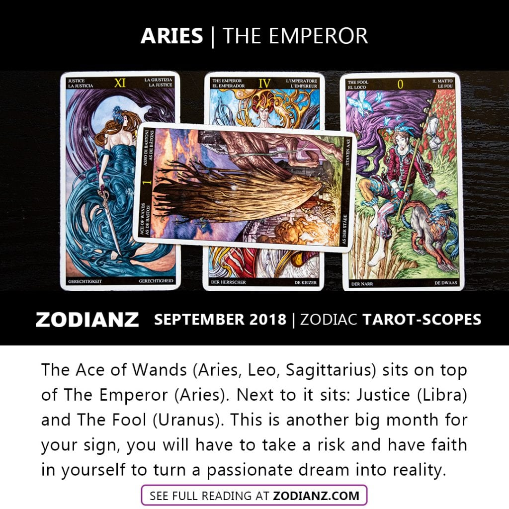 ARIES SEPTEMBER 2018 ZODIAC TAROT-SCOPES BY JOAN ZODIANZ