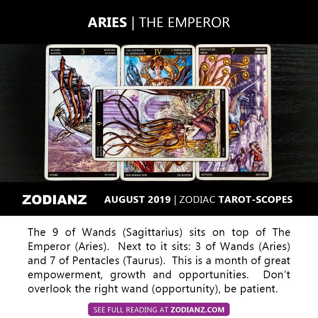 ZODIANZ AUGUST 2019 ZODIAC TAROTSCOPES - ARIES
