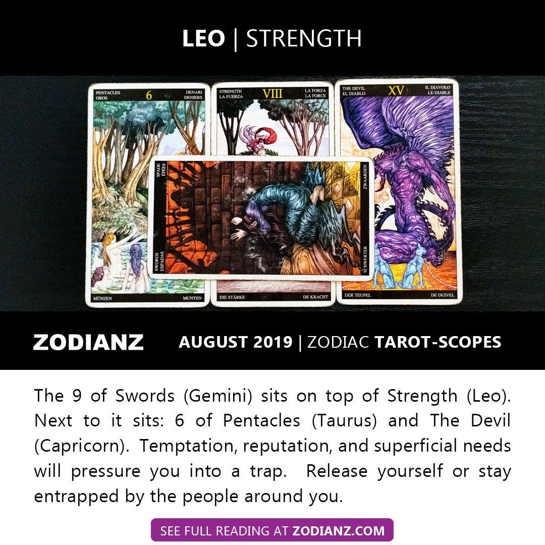ZODIANZ AUGUST 2019 ZODIAC TAROTSCOPES - LEO