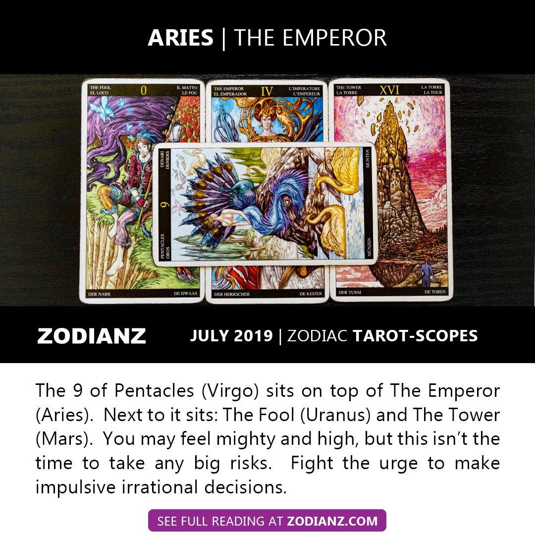 July 2019 Zodiac Tarot-Scopes - by Joan Zodianz - Queen of Stars