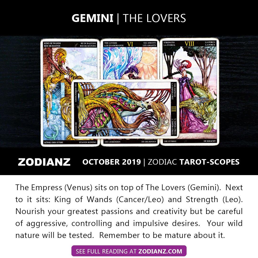 ZODIANZ OCTOBER 2019 ZODIAC TAROTSCOPES - GEMINI